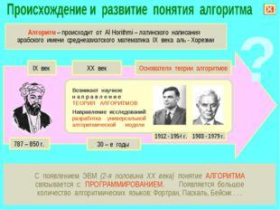 С появлением ЭВМ (2-я половина XX века) понятие АЛГОРИТМА связывается с ПРОГР