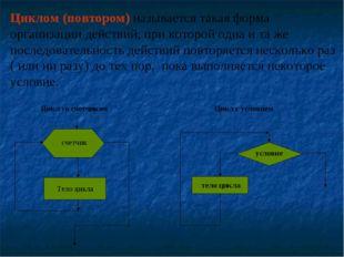 Циклом (повтором) называется такая форма организации действий, при которой од