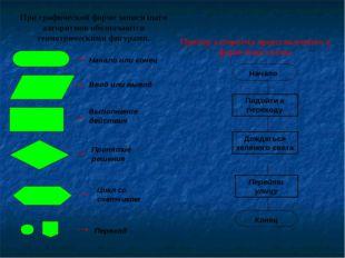 При графической форме записи шаги алгоритмов обозначаются геометрическими фиг