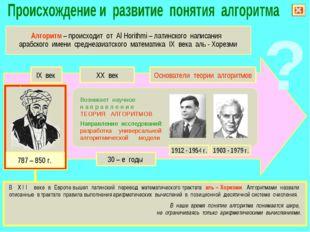 IX век XX век Основатели теории алгоритмов 30 – е годы Возникает научное н а