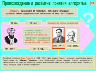 Английский математик Алан Тьюринг в 1935 – 1936 годах создает теорию «логиче