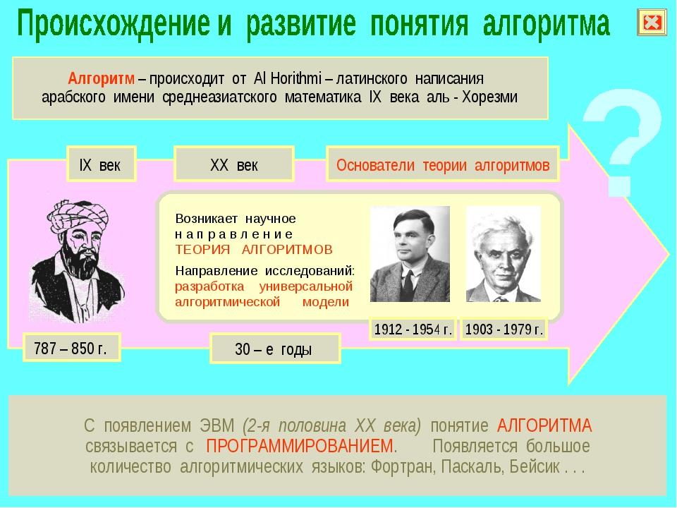 С появлением ЭВМ (2-я половина XX века) понятие АЛГОРИТМА связывается с ПРОГР...