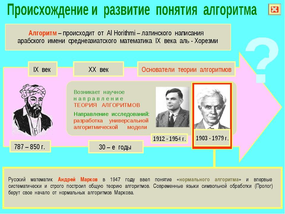 Русский математик Андрей Марков в 1947 году ввел понятие «нормального алгори...