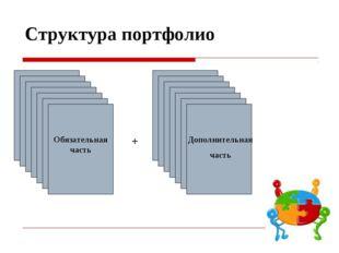 * Структура портфолио + Обязательная часть Обязательная часть Дополнительная