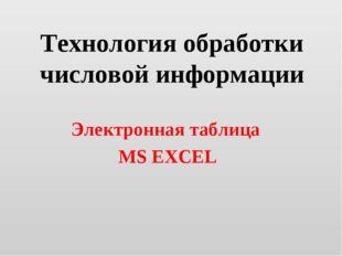 Технология обработки числовой информации Электронная таблица MS EXCEL
