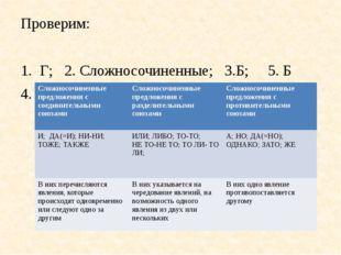 Проверим: Г; 2. Сложносочиненные; 3.Б; 5. Б 4. Сложносочиненные предложения с