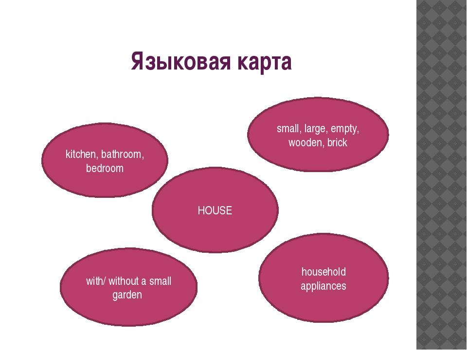 Языковая карта HOUSE small, large, empty, wooden, brick kitchen, bathroom, b...