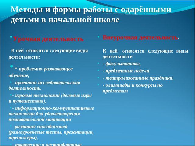 Методы и формы работы с одарёнными детьми в начальной школе Урочная де...