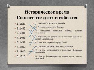 Историческое время Соотнесите даты и события 1. 1521 2. 1492 3. 1436 4. 1499