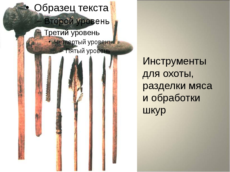 Инструменты для охоты, разделки мяса и обработки шкур
