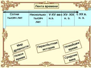 Лента времени Первобытная история Новейшее время Новое время Мир древности Ср