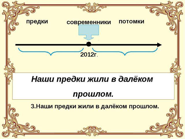 предки современники потомки 2012г. 1. Наши предки живут в далёком будущем. 2....