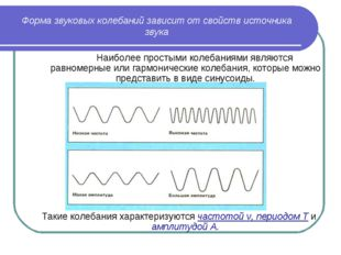 Форма звуковых колебаний зависит от свойств источника звука  Наиболее просты