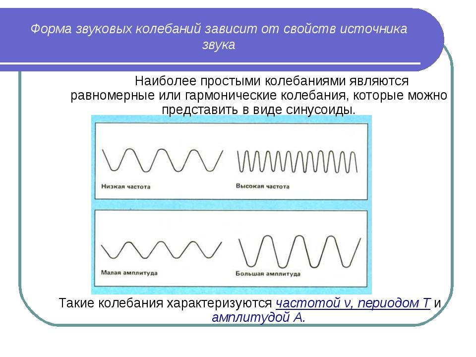Форма звуковых колебаний зависит от свойств источника звука  Наиболее просты...