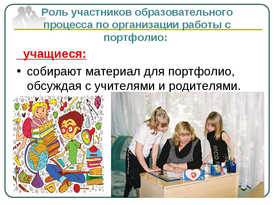 Роль участников образовательного процесса по организации работы с портфолио:...