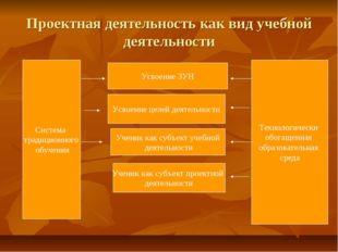 Проектная деятельность как вид учебной деятельности Система традиционного обу