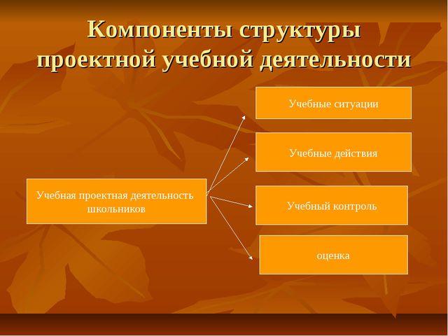 Компоненты структуры проектной учебной деятельности Учебная проектная деятель...