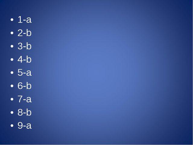 1-a 2-b 3-b 4-b 5-a 6-b 7-a 8-b 9-a
