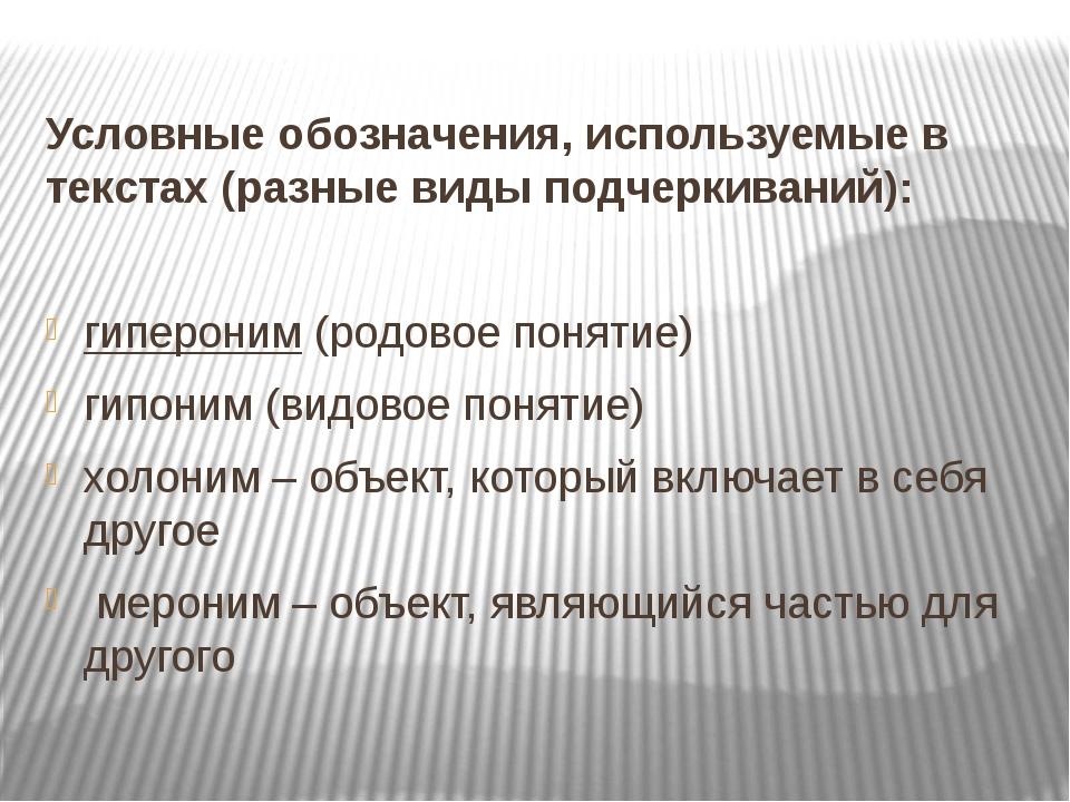Условные обозначения, используемые в текстах (разные виды подчеркиваний): гип...