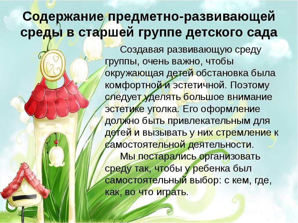 Содержание предметно-развивающей среды в старшей группе детского сада Создав...
