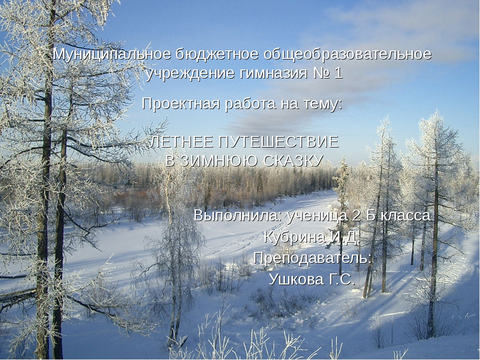 Муниципальное бюджетное общеобразовательное учреждение гимназия № 1 Проектная...