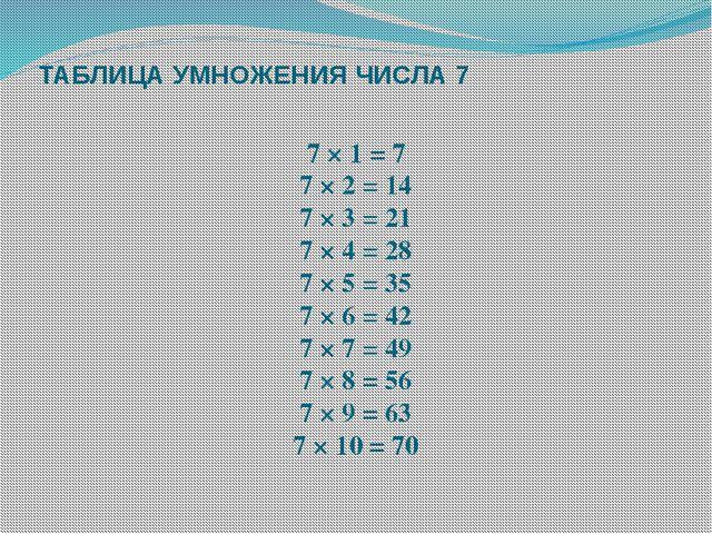 ТАБЛИЦА УМНОЖЕНИЯ ЧИСЛА 7 7 × 1 = 7 7 × 2 = 14 7 × 3 = 21 7 × 4 = 28 7 × 5 =...