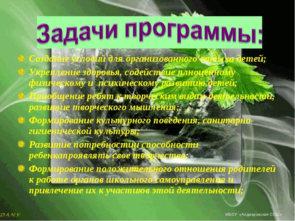 Создание условий для организованного отдыха детей; Укрепление здоровья, содей...