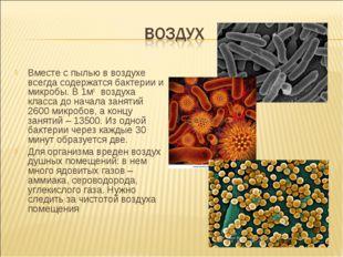 Вместе с пылью в воздухе всегда содержатся бактерии и микробы. В 1м3 воздуха