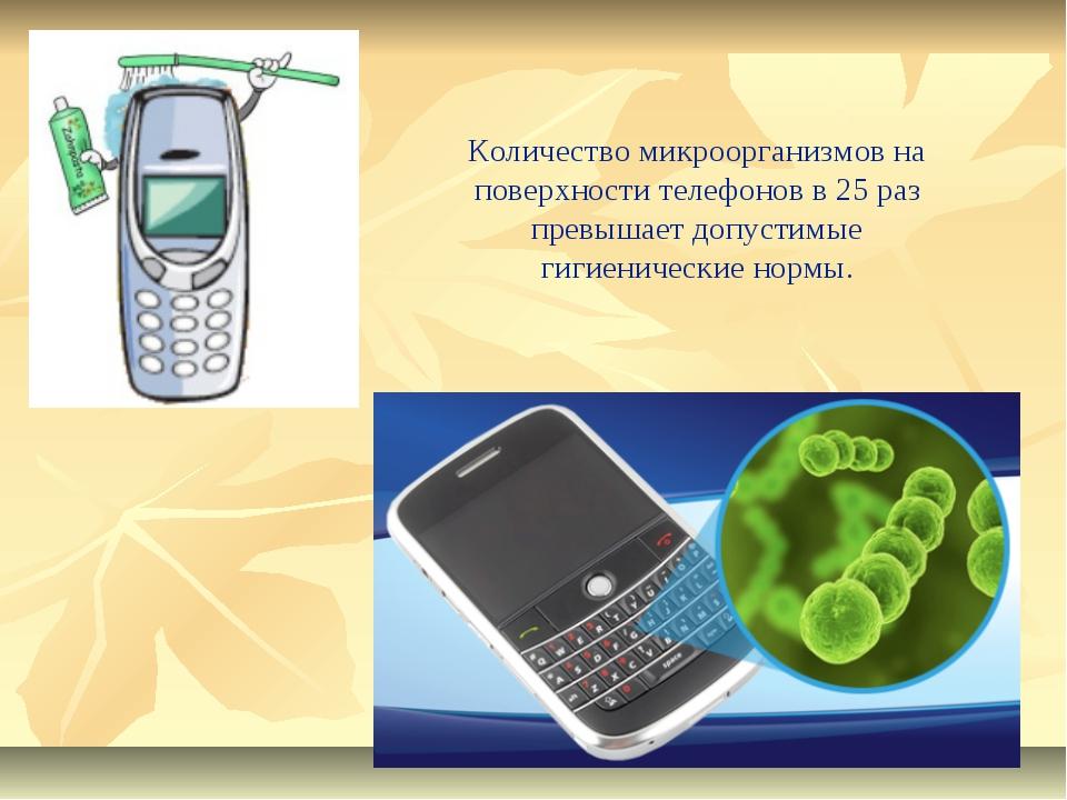 Количество микроорганизмов на поверхности телефонов в 25 раз превышает допуст...