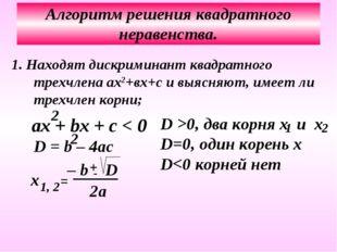 Алгоритм решения квадратного неравенства. 1. Находят дискриминант квадратного