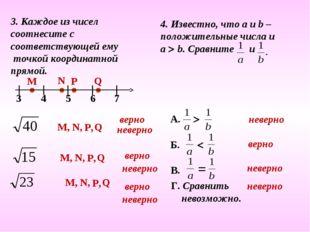 3. Каждое из чисел соотнесите с соответствующей ему точкой координатной прямо