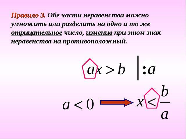 Правило 3. Обе части неравенства можно умножить или разделить на одно и то же...