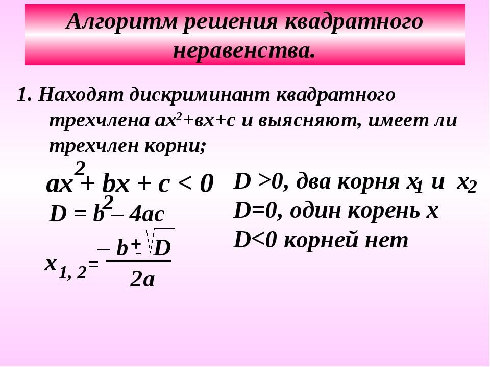 Алгоритм решения квадратного неравенства. 1. Находят дискриминант квадратного...
