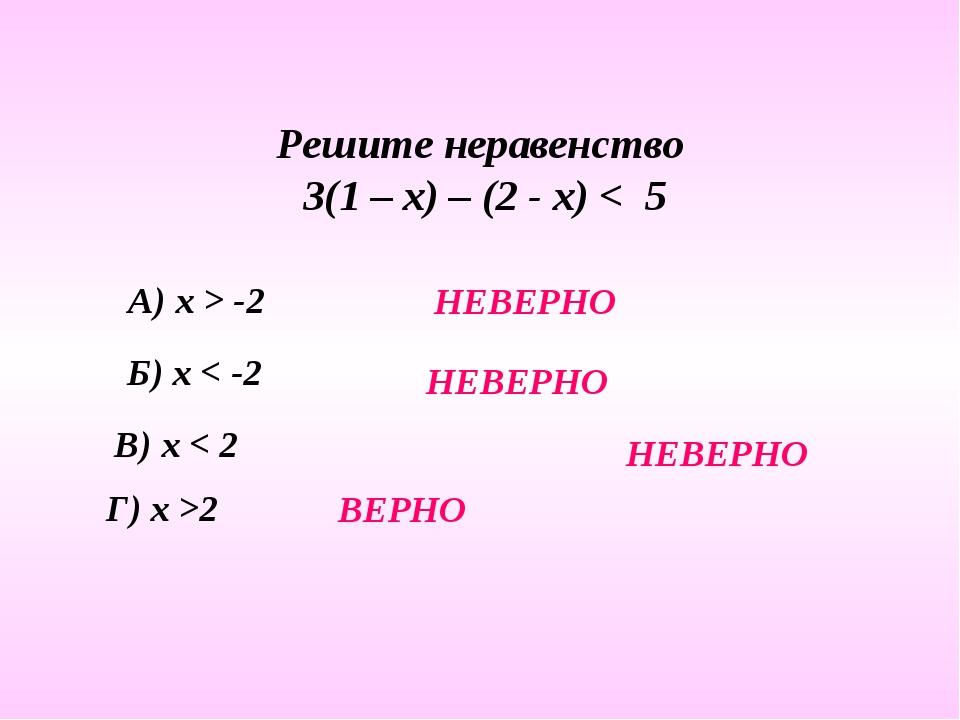Решите неравенство 3(1 – х) – (2 - х) < 5 А) х > -2 Б) х < -2 В) х < 2 Г) х >...