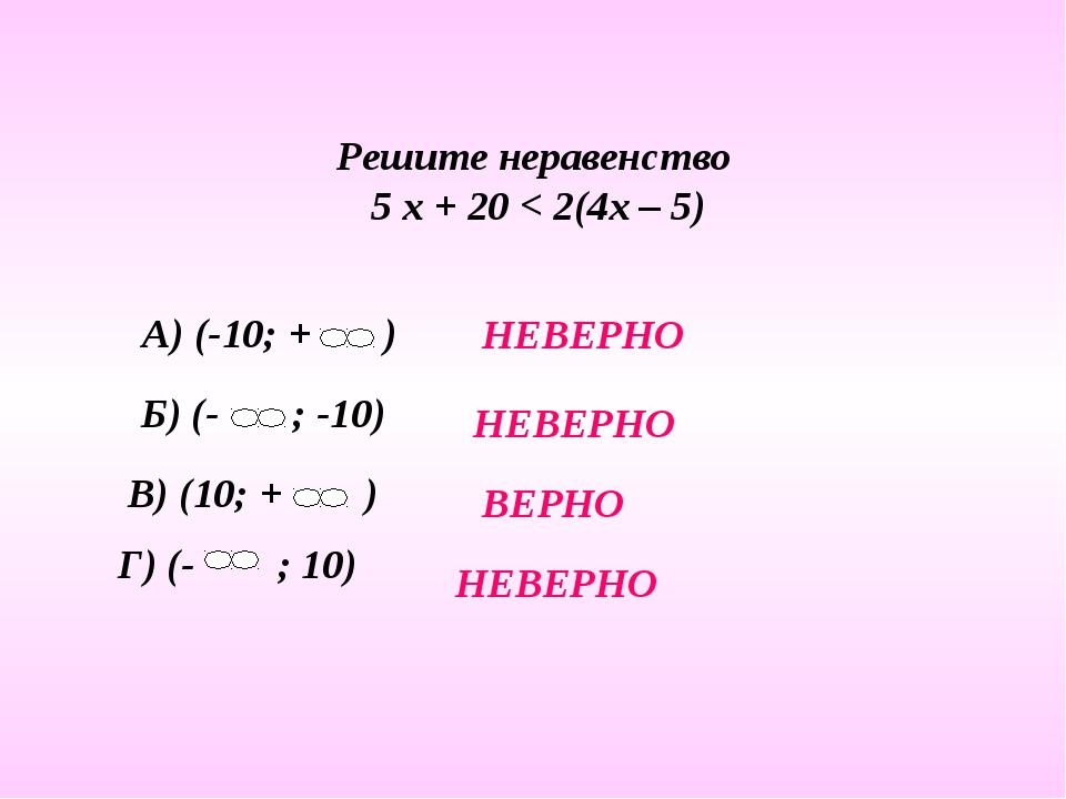 Решите неравенство 5 х + 20 < 2(4х – 5) НЕВЕРНО НЕВЕРНО НЕВЕРНО ВЕРНО
