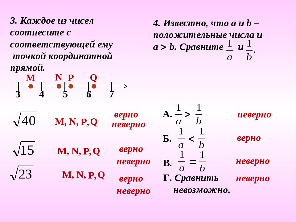 3. Каждое из чисел соотнесите с соответствующей ему точкой координатной прямо...