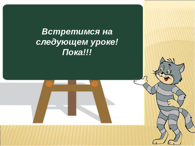 Встретимся на следующем уроке! Пока!!!