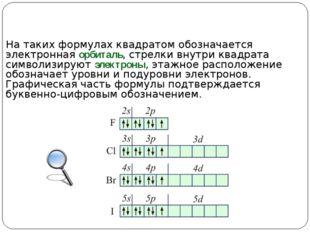 На таких формулах квадратом обозначается электронная орбиталь, стрелки внутри