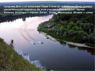 Средний Дон — от устья реки Тихая Сосна до г. Калач-на-Дону, долина значитель