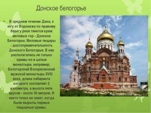 Донское белогорье В среднем течении Дона, к югу от Воронежа по правому берегу