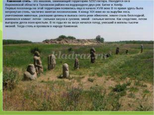 Каменная степь- это заказник, занимающий территорию 5232 гектара. Находитс