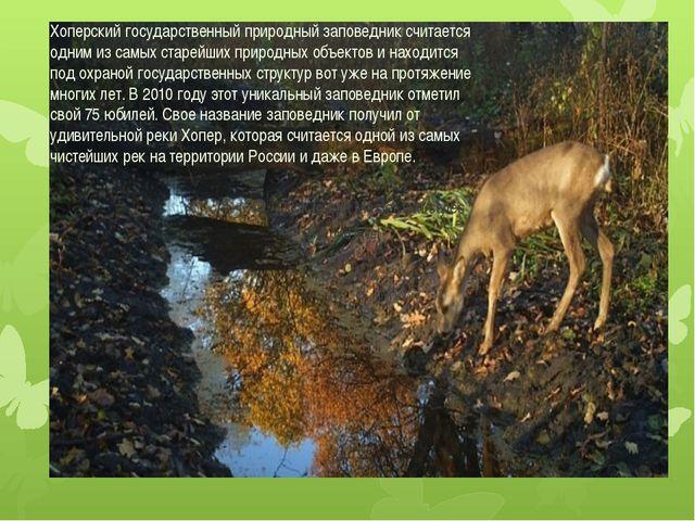 Хоперский государственный природный заповедник считается одним из самых стар...