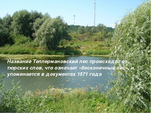Название Теллермановский лес происходит от тюрских слов, что означает «бескон...