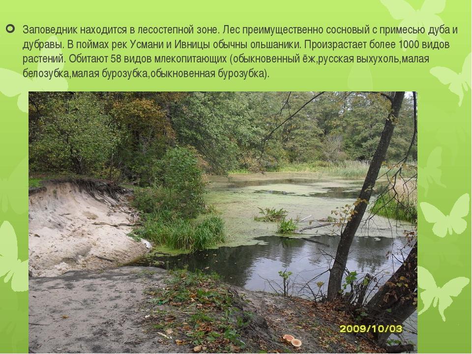 Заповедник находится в лесостепной зоне. Лес преимущественно сосновый с прим...