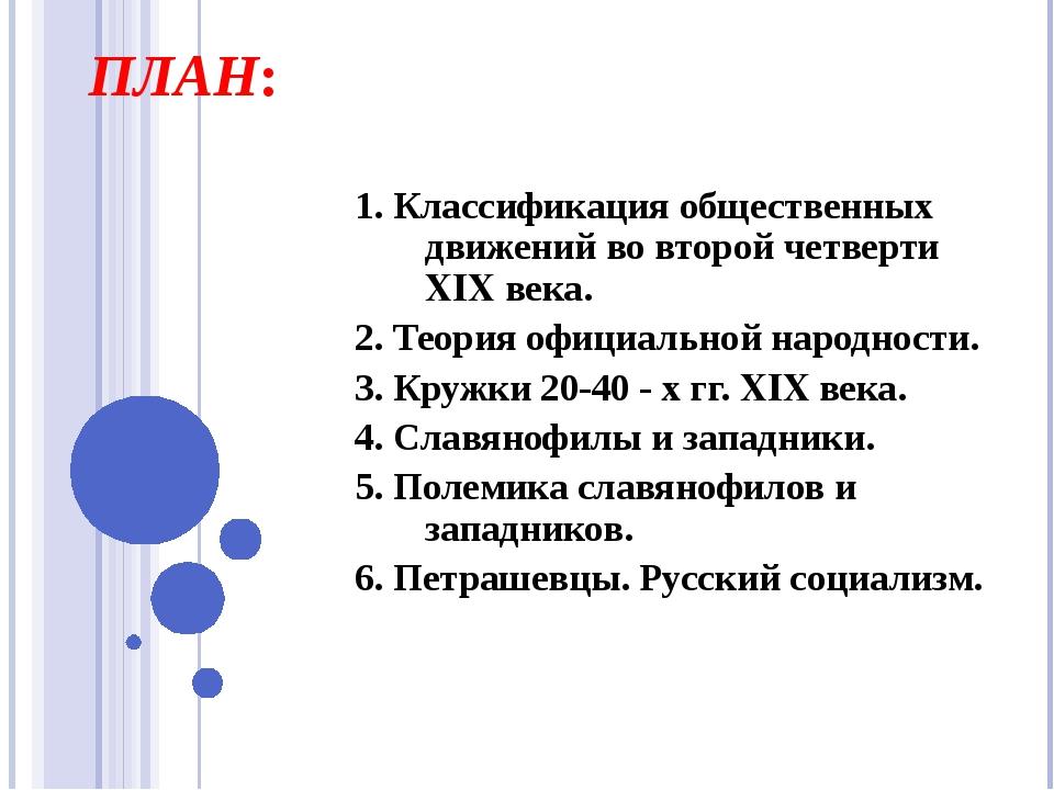 ПЛАН: 1. Классификация общественных движений во второй четверти XIX века. 2....