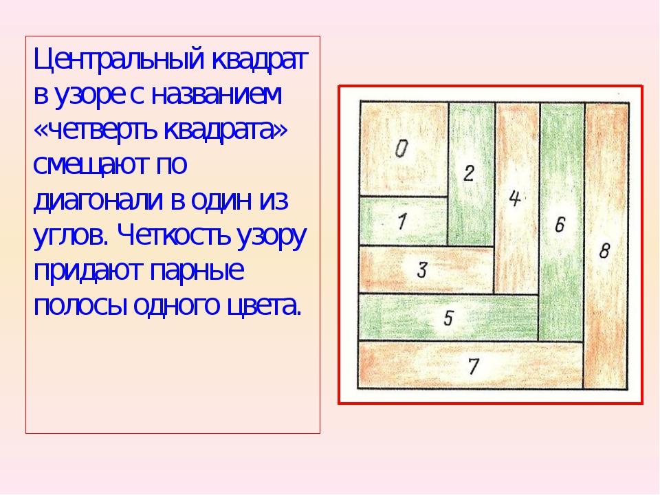 Центральный квадрат в узоре с названием «четверть квадрата» смещают по диагон...