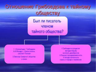 Отношение Грибоедова к тайному обществу