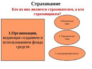 Страхование 1.Организация, ведающая созданием и использованием фонда средств