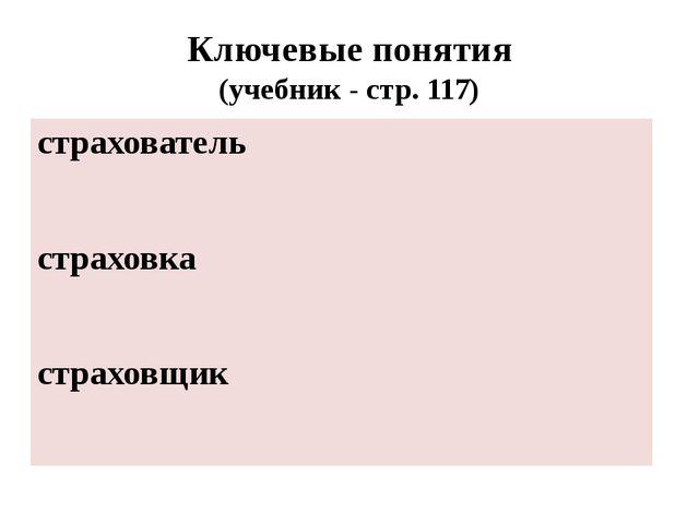 Ключевые понятия (учебник - стр. 117)