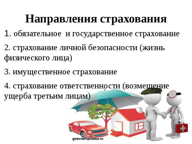 Направления страхования 1. обязательное  и государственное страхование 2. с...
